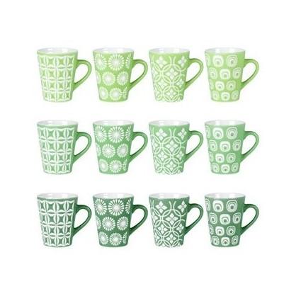 Coffret de 12 tasses Spring 10cl floral vert