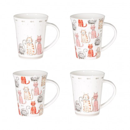 Coffret 4 mugs 35cl - Motif chat
