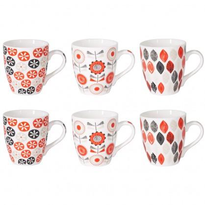 Coffret de 6 tasses 23cl - Motif floraux rouge