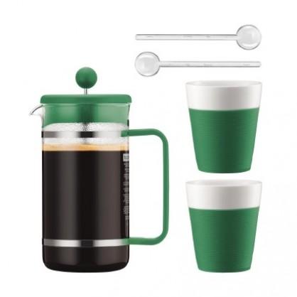 Coffret 1 cafetière à piston, 2 tasses, 2 cuillères verte