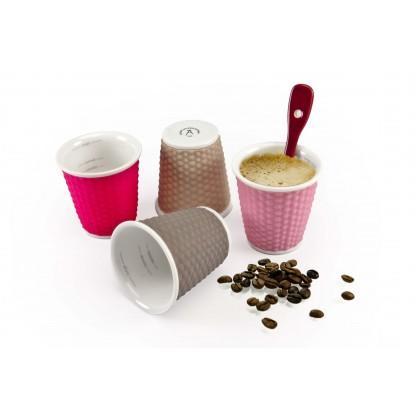 Coffret de 4 tasses en porcelaine avec bandeau silicone colorés 10cl
