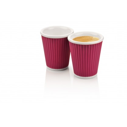 2 tasses en porcelaine avec bandeau en silicone orange ondulé 18cl
