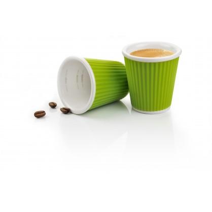 2 tasses en porcelaine avec bandeau en silicone ondulé 10cl