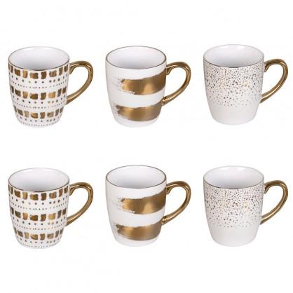 Coffret de 6 mugs dorés 18cl