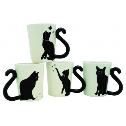 Coffret de 4 mugs expresso chats