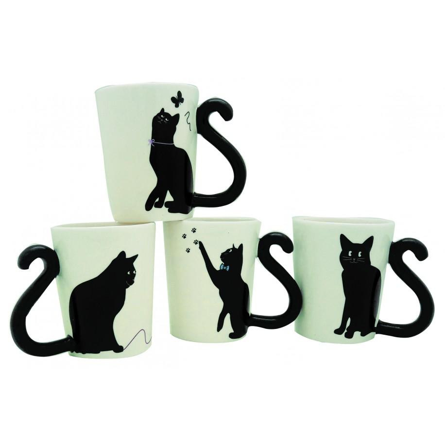 Coffret de 4 mugs expresso chats