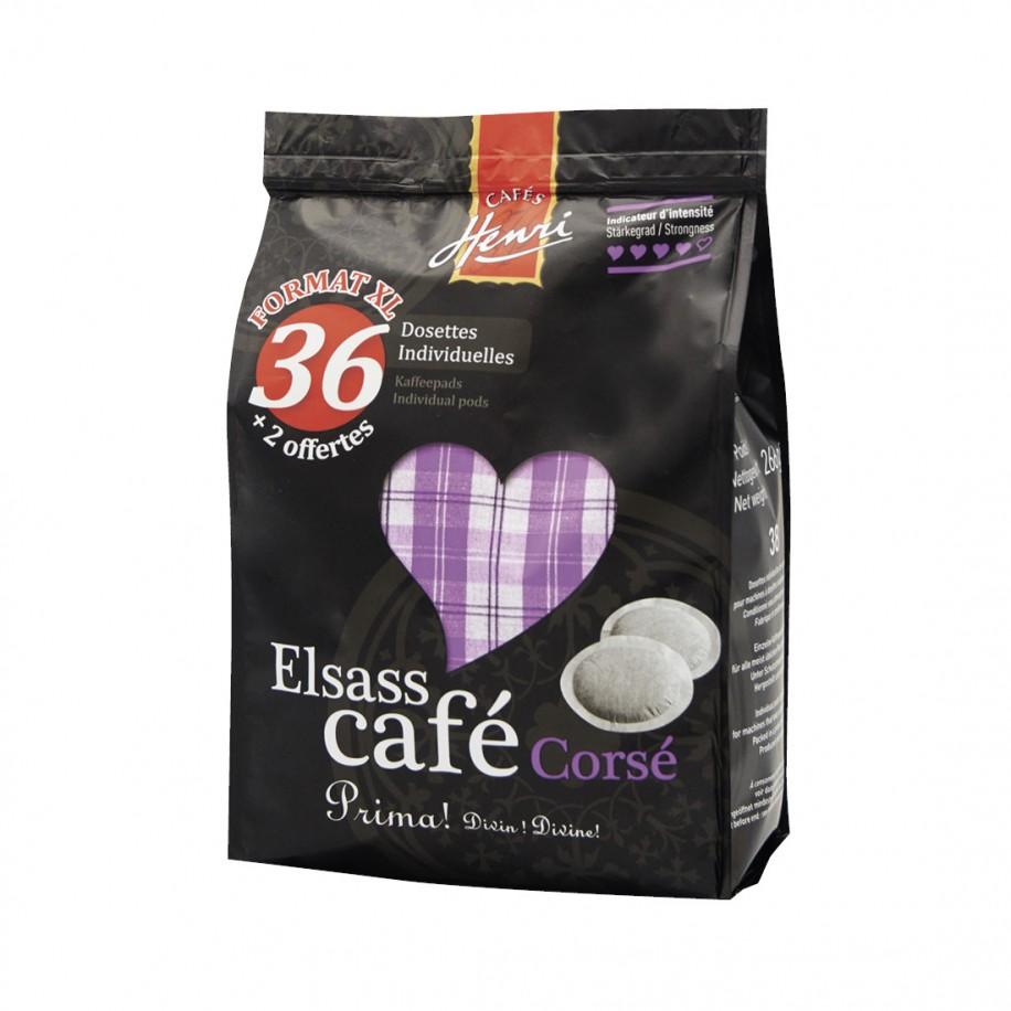 Lot de 36 dosettes Elsass Café Corsé + 2 offertes