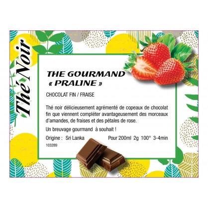"""Thé noir """"praline"""" chocolat fin et fraise"""