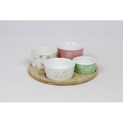 """Plateau bambou + 4 pots """"FLOWER"""""""